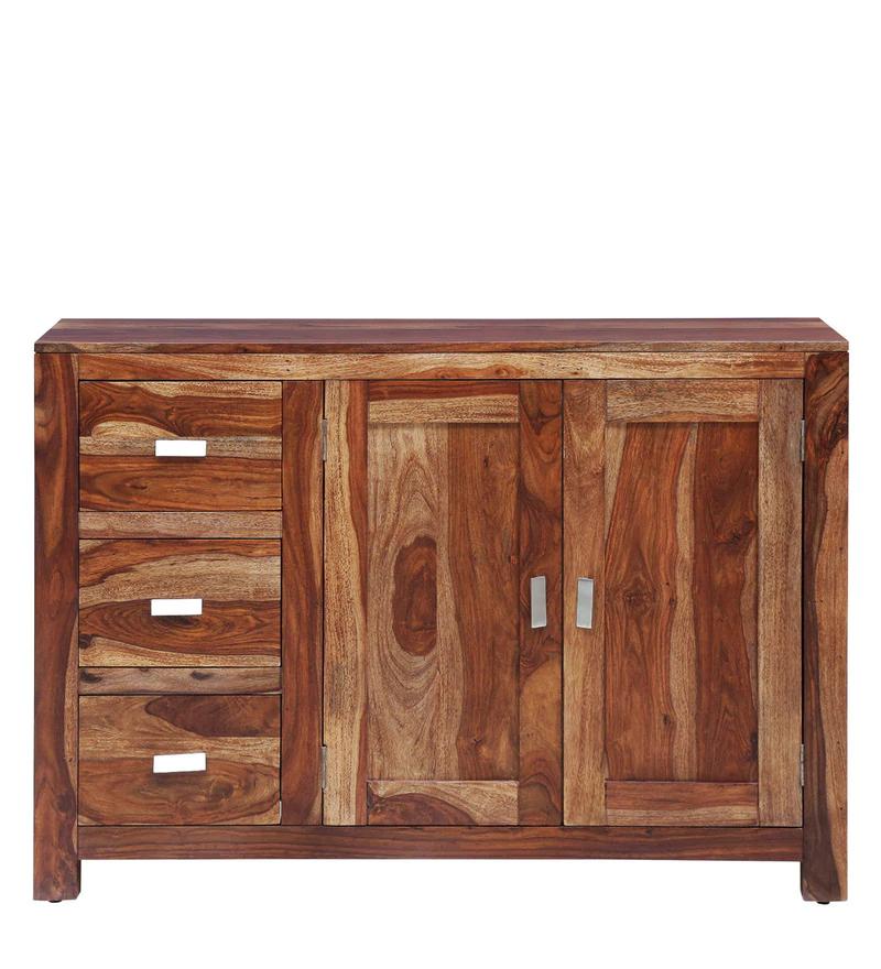 Kerry Solid Wood Sideboard in Rustic Teak Finish - Shagun Arts