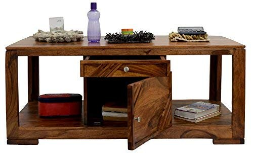 Roman Coffee Table with Storage (Lacquer Finish, Natural Teak)