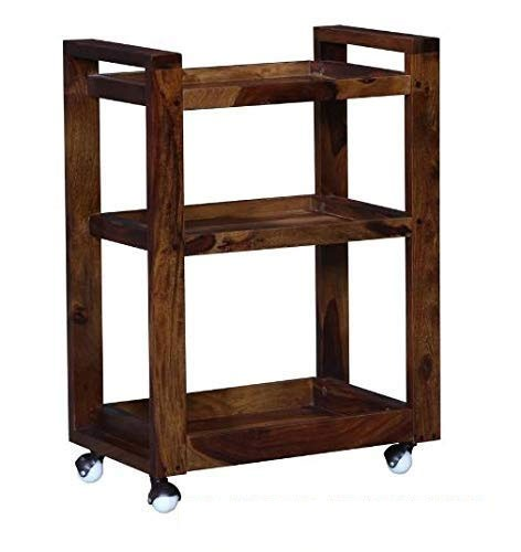 Abril Bar Trolley/Serving Trolley/Wooden Service Trolley (Sheesham Wood) (Teak Wood Shade)
