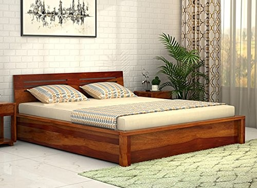 Drewno Bed Sheesham Hardwood King Size Box Bed, 200x198cm (Honey Medium)