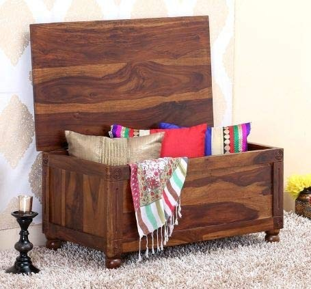 Dyce Wooden Trunk Seating Stool/Storage Stool Pure sheesham Wood