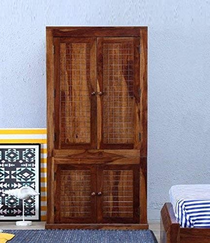 Hout Sheesham Wood Double Doors Wardrobe External Storage Cabinet