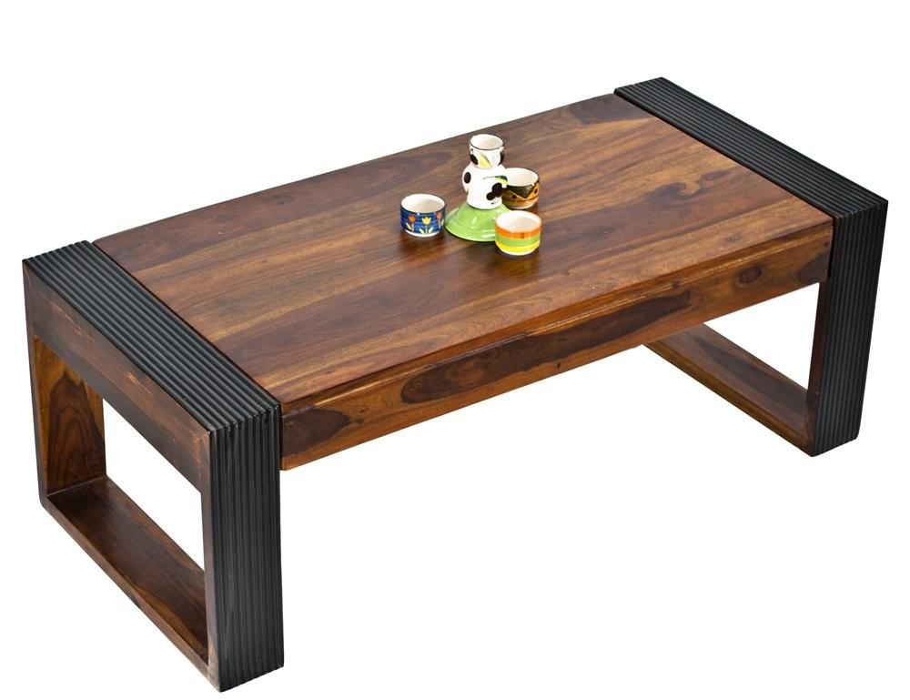 Vinessa Wood Coffee Table Teak Color Top & Dark Walnut Legs
