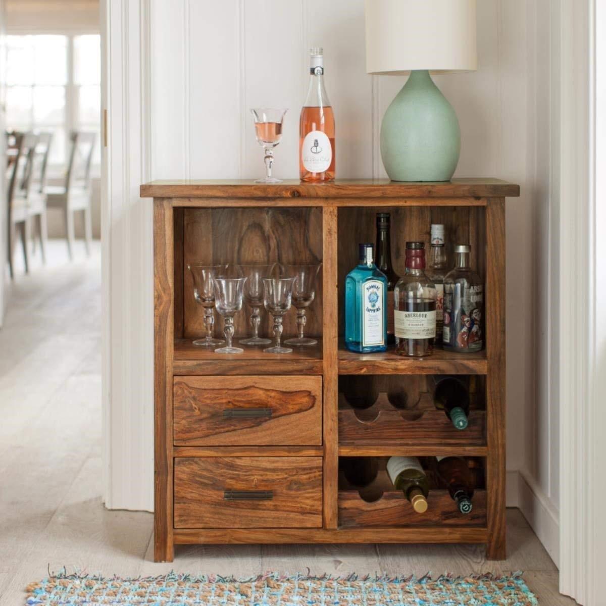 Nevil Bar Sheesham Wood Bar Cabinet | for Home & Living Room | Liquor Storage | with Wine Glass Storage | Brown
