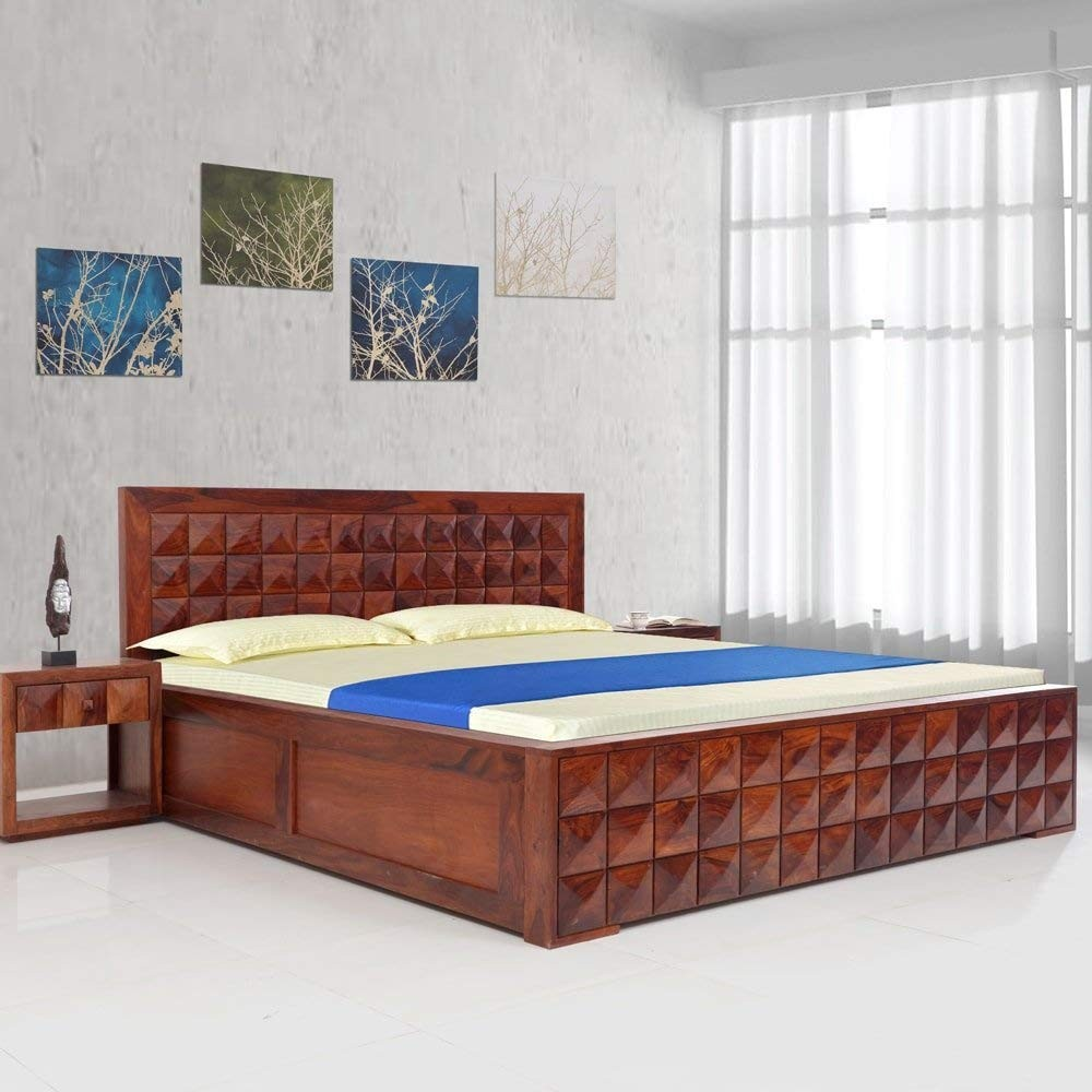 Wisker Bed Sheesham Wood Daimond Bed (Brown, 77x82x40-inch)