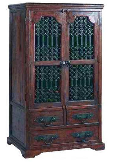 Aramika Solid Wood 2 Door Wardrobe in Rustic