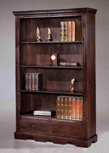 Bartolo Book Shelf with one Drawer in Dark Brown Finish