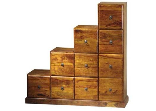 Magnum Solid Sheesham Wood step drawer chest