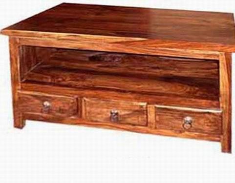 Emboss Solid Sheeshams Wood Tv Unit