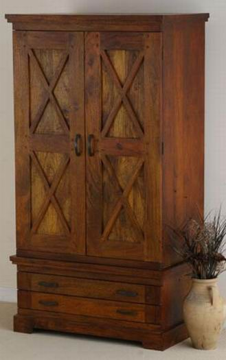 Ayasa Solid Wood 2 Door Wardrobe in Honey