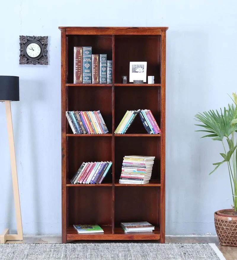 Osias Solid Wood Book Shelf in Honey Oak Finish