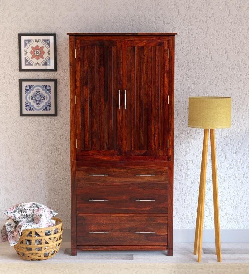 Walken Solid Wood 2 Door Wardrobe in Honey Oak Finish