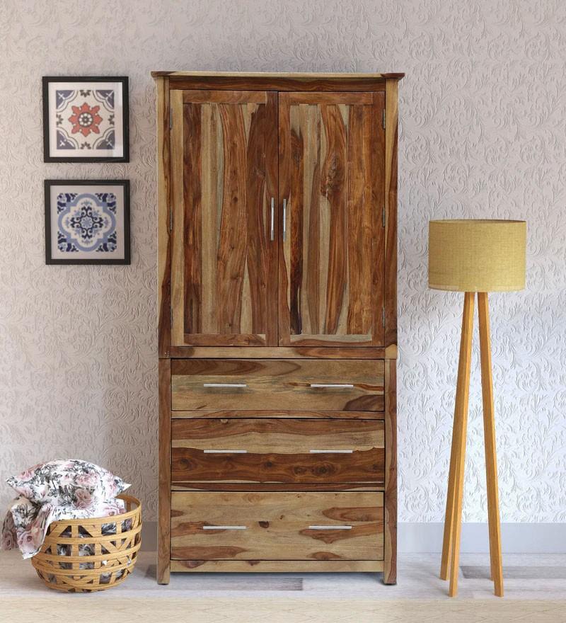 Walken Solid Wood 2 Door Wardrobe in Rustic Teak Finish