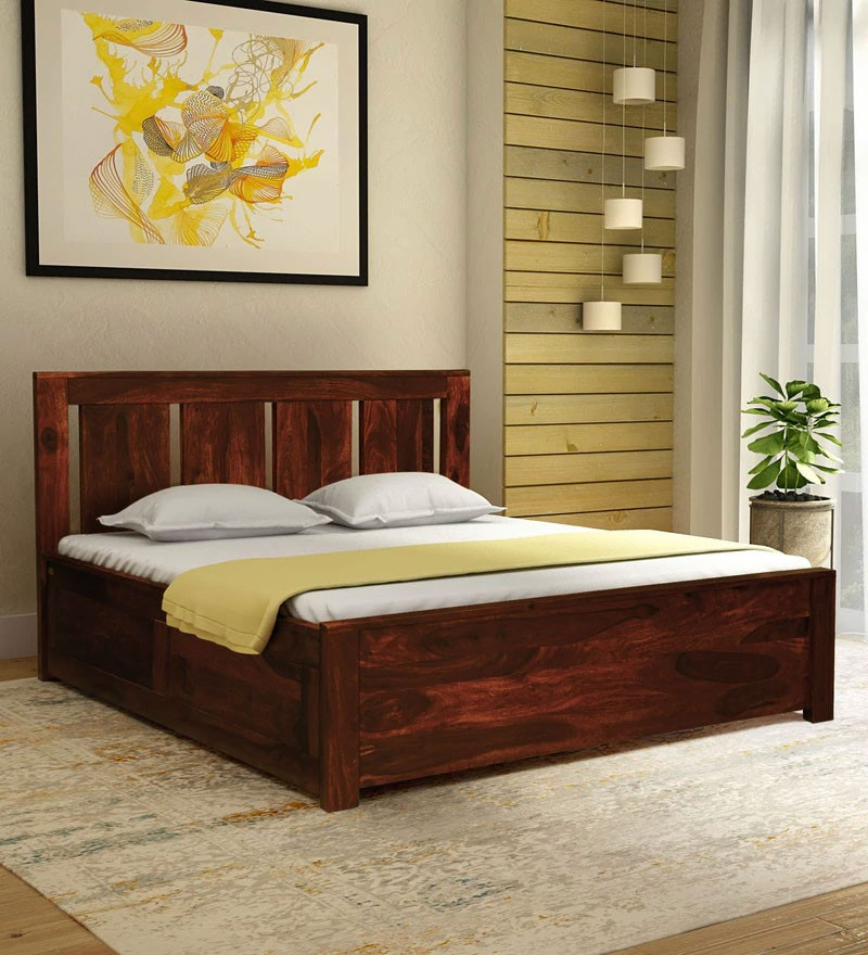 Denzel  Solid Wood King Size Bed with Storage in Honey Oak Finish