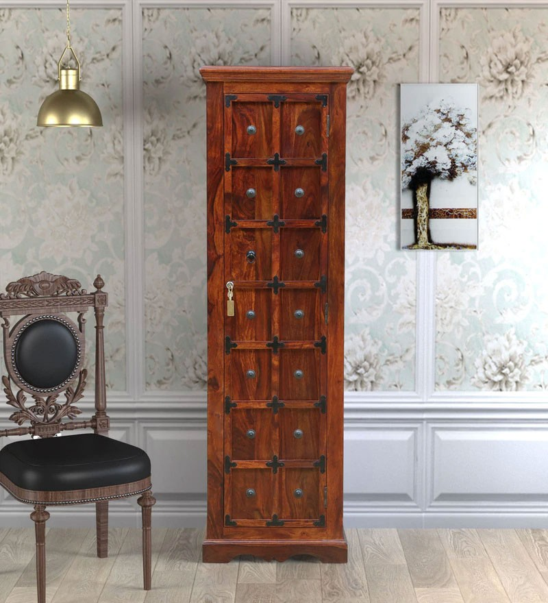 Bolivia Solid Wood 1 Door Wardrobe in Honey oak Finish
