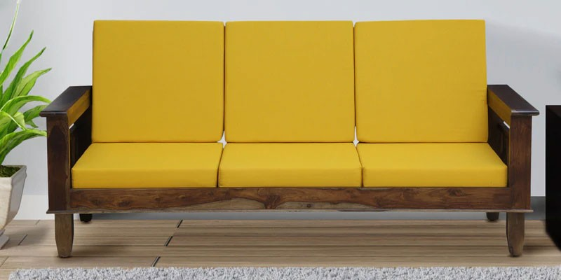 Marriott Wooden Sofa Solid Wood 3 Seater Sofa in Provincial Teak Finish