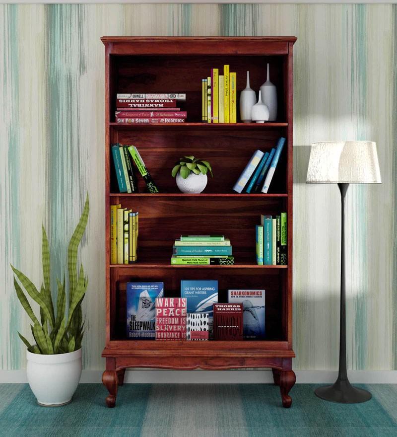 Portus Solid Wood Book Shelf in Honey Oak Finish