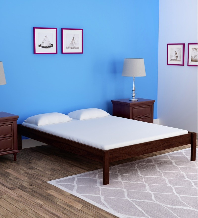 Upholstered Solid Wood Queen Size Bed in Provincial Teak Finish