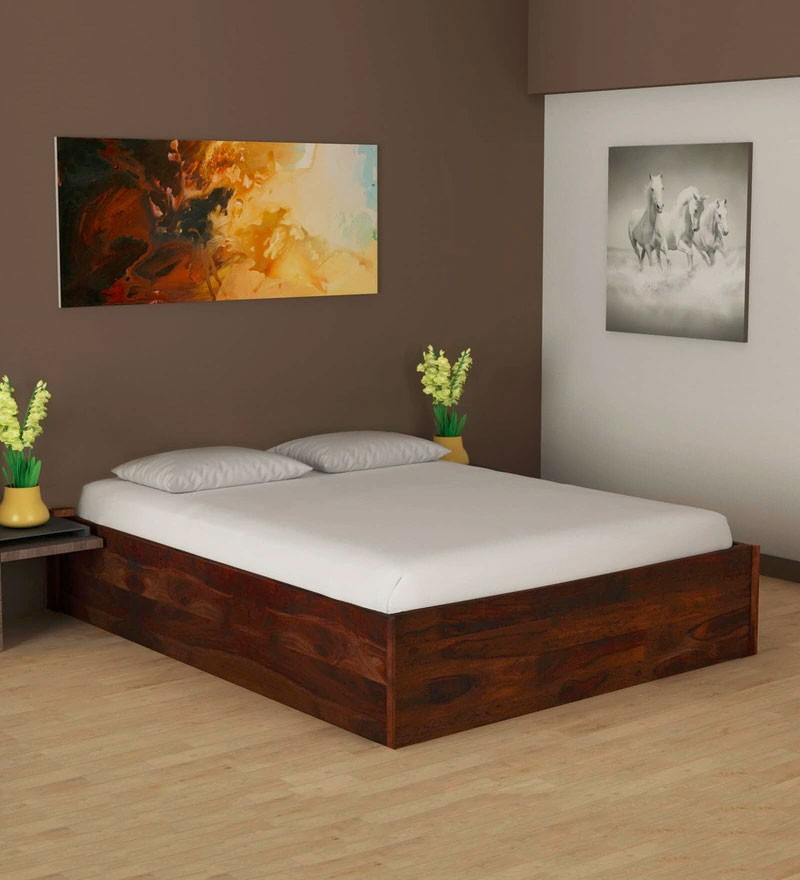 Hout Solid Wood King Size Bed with Storage in Provincial Teak Finish