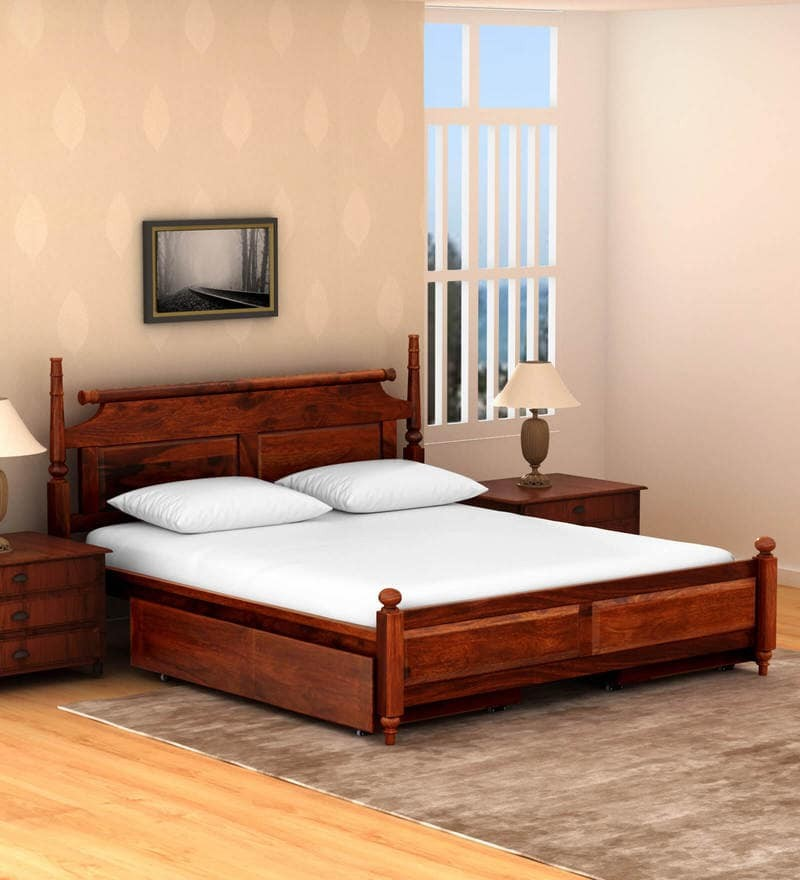 Trundle Bed Wood Queen Size Bed with Storage in Honey Oak Finish