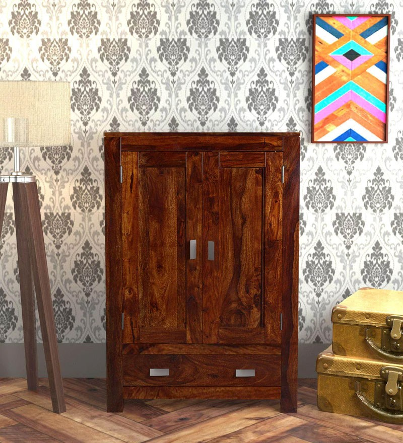 Nixon Solid Wood 2 Door Wardrobe in Honey oak Finish
