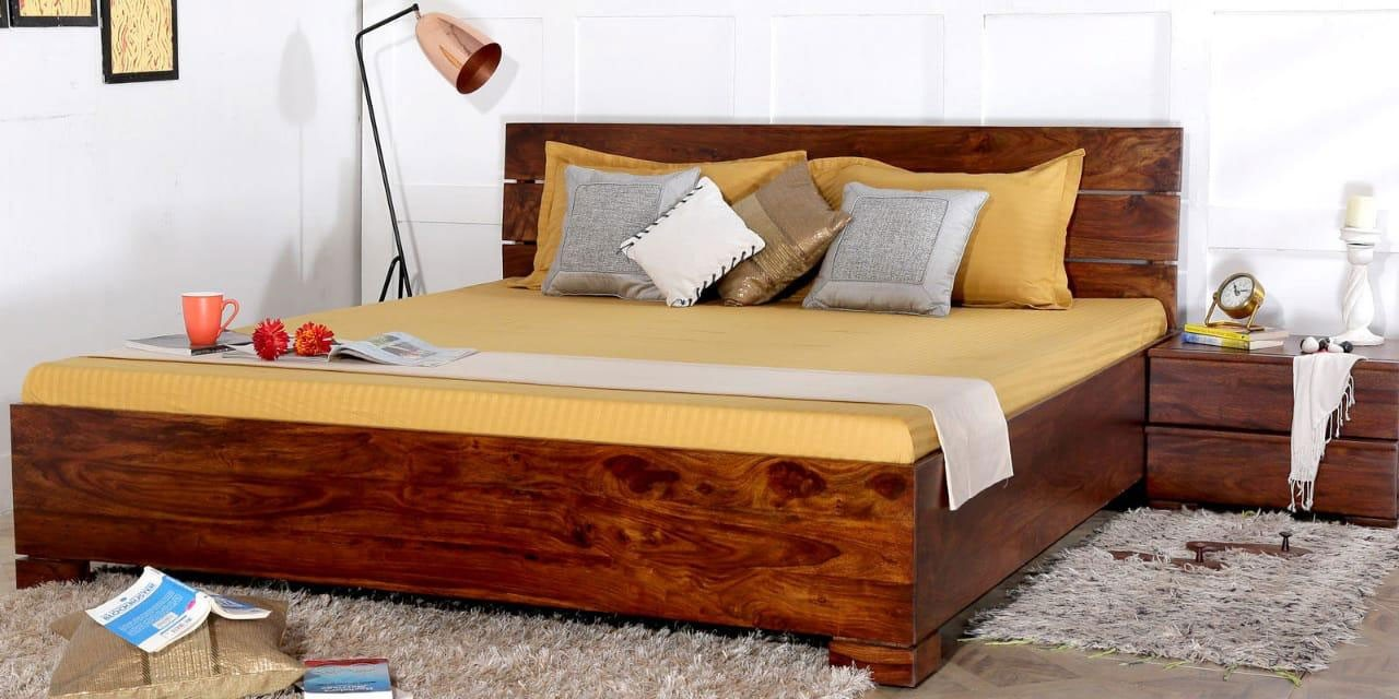 Picture of: Buy Solid Wood Allan Queen And King Size Bed Solid Sheesham Wood Shagun Arts
