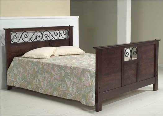 Swirl Solid Sheesham Wood Bed