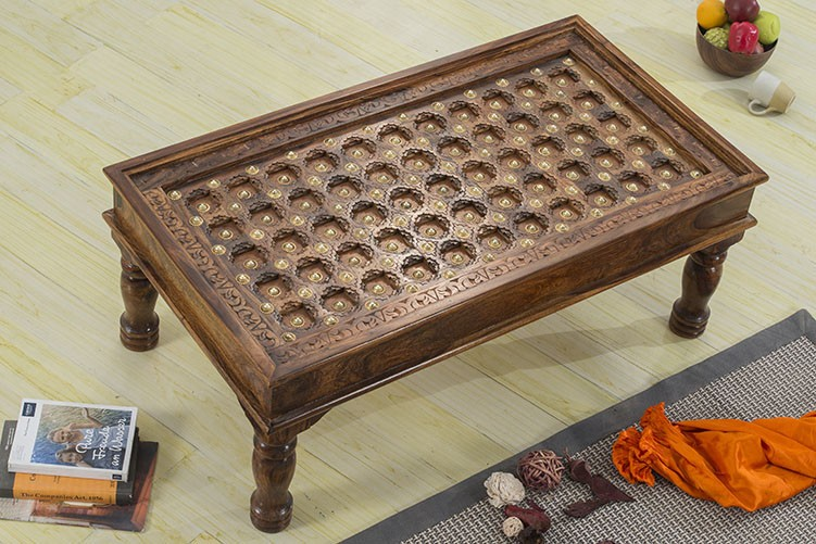 Brass Sheesham Wood Worked Coffee Table Without Glass