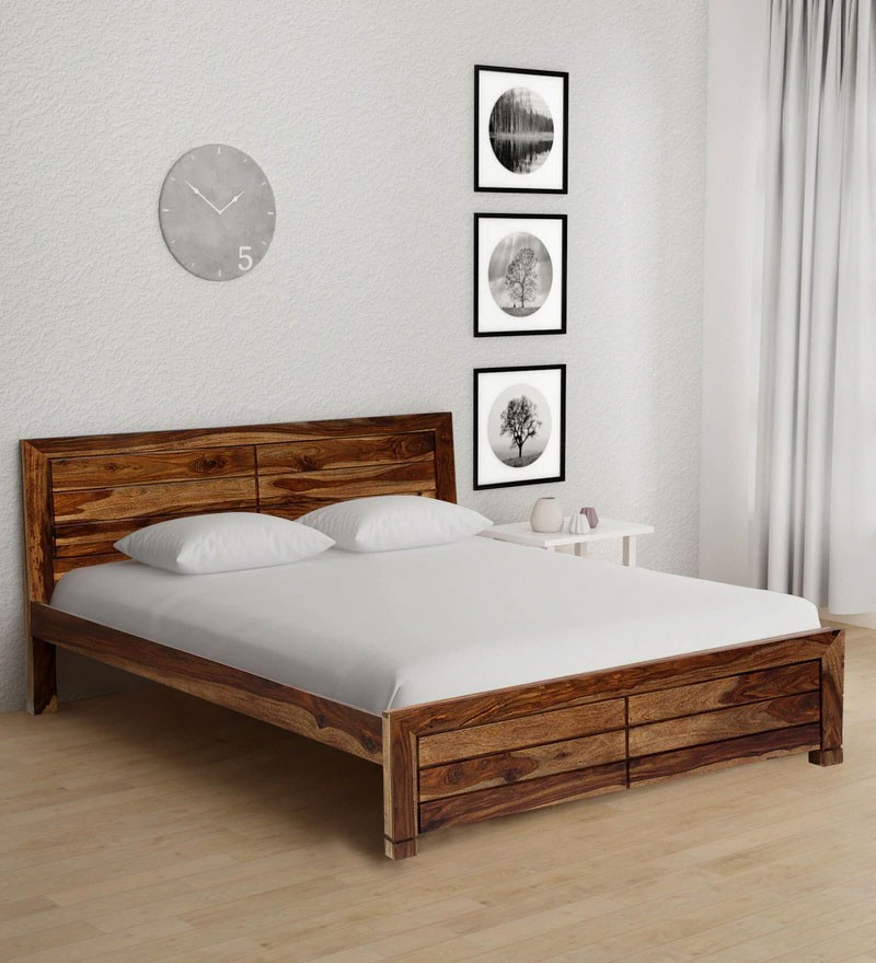 Drewno Solid Wood King Size Bed in Rustic Teak Finish