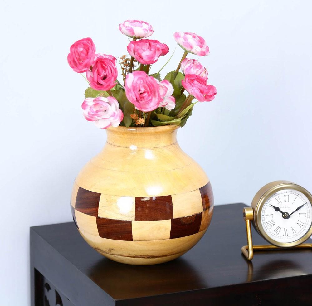 Multicolour Solid Sheesham Wood Vase