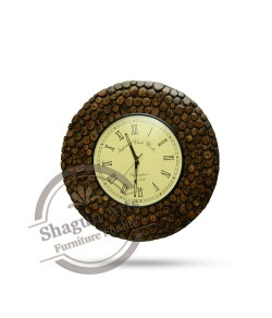 Dark Golden Sturdy Wooden Wall Clock
