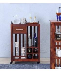 Ester Bar Pure Sheesham Wood Bar Trolley in Honey Look Finishing