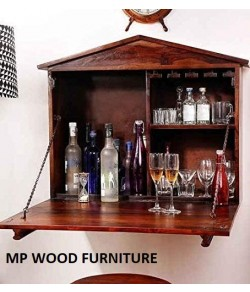 Abril Bar Solid Sheesham Wood Wall Bar Cabinet (Teak)