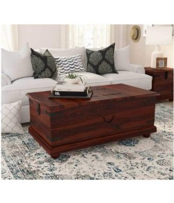 Adolph Wooden Trunk Living Room Table/Storage Box Stool Pure sheesham Wood