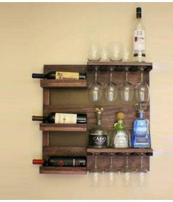 Auric Large Wine Rack Bar Cabinets | Ladder Shape Wine Storage Bar for Home and Party, Wine Rack with Bottle and Glass Hanger Made Up with Solid Indian Sheesham Wood-Natural Finish