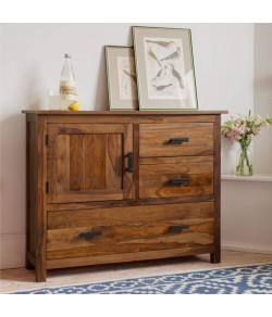 Jett Sheesham Wood Sideboard Cabinet for Living Room Furniture 3 Drawers 1 Cabinet Storage Natural Honey Finish