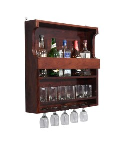 Wooden Wall HangingEster Bar  Design Bar | Bar Cabinets for Home | Mini Bar for Home | Solid Wood Make Wine Storage Cabinet with Glass Hanging Space-Mahogany Finish