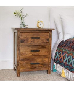Allan Bed Solid Wood Honey Finish 3-Drawer Bedside Table
