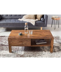 Hammond Wood Center Table | Coffee Table with 1 Drawer & 1 Shelve | Living Room Table with Drawer - Natural Honey Finish