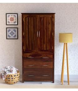 Tim Extendable Solid Wood 2 Door Wardrobe in Provincial Teak Finish
