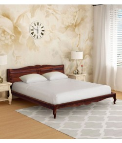 Cambrey Bed Anne Solid Wood Queen Size Bed in Honey Oak Finish