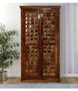 Drewno Carved Two Door Wardrobe In Honey Finish