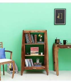 Cambrey Solid Wood Book Shelf in Warm Walnut Finish