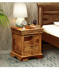Allan Bed Carleson Solid Wood Bedside Chest in Rustic Teak Finish