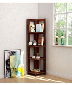 Severino Solid Wood Book Shelf in Honey Oak Finish