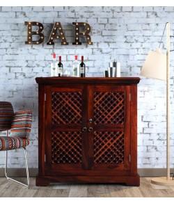 Lynton Bar Cabinet in Honey Oak Finish