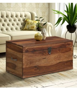 Boho Wood Trunk in Rustic Teak Finish