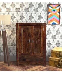 Emboss Solid Wood 2 Door Wardrobe in Provincial Teak Finish