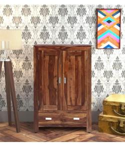 Denzel Solid Wood 2 Door Wardrobe in Rustic Teak Finish
