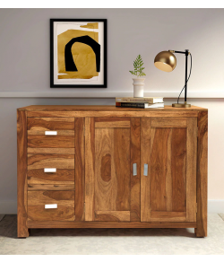 Kerry Solid Wood Sideboard in Rustic Teak Finish